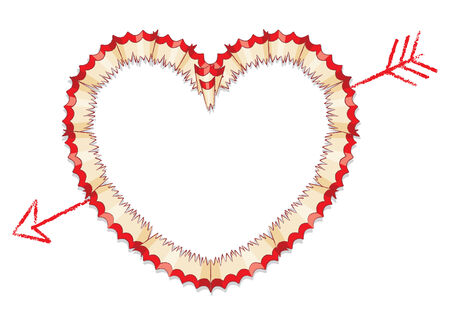shavings: Red Pencil Shavings in Shape of Heart with Drawn Arrow