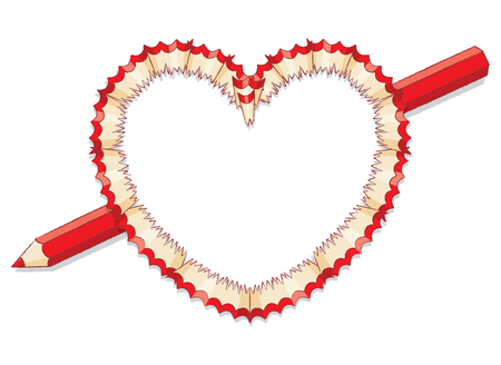 Red Pencil Shavings in Shape of Heart with Red Pencil as Arrow Vector