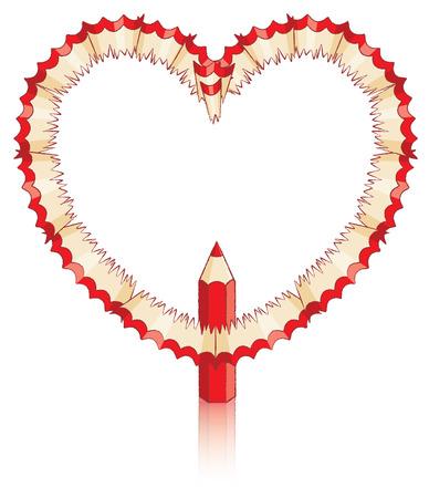 secret love: Rojo l�piz virutas en forma de coraz�n con el l�piz rojo Vectores