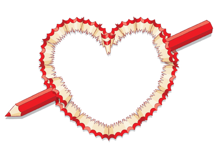 Red Pencil Shavings in Shape of Heart with Broken Red Pencil Illustration