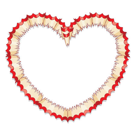 Red Pencil Shavings in Shape of Heart Illustration