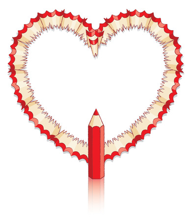 Red Pencil Shavings in Shape of Heart with Red Pencil Vector