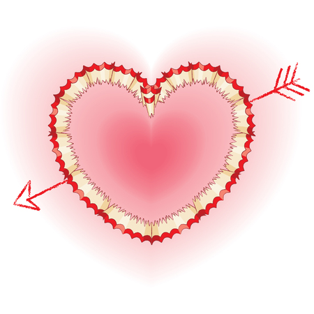 Red Pencil Shavings in Shape of Heart and Drawn Arrow Vector