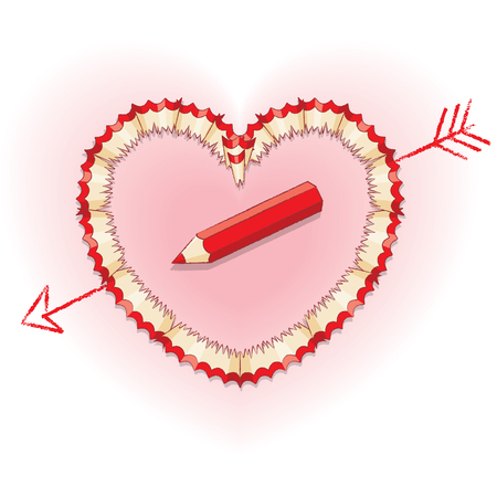 shavings: Red Pencil Shavings in Shape of Heart and Drawn Arrow with Red Pencil