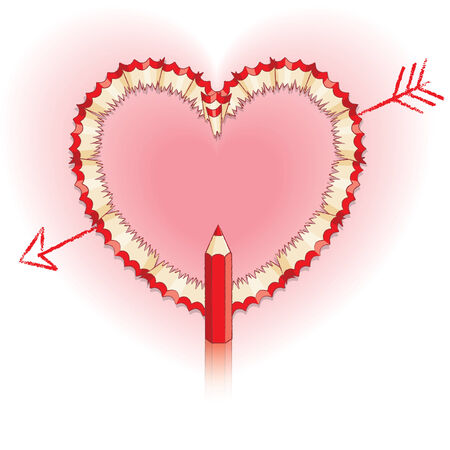 Red Pencil Shavings in Shape of Heart and Drawn Arrow with Red Pencil Vector