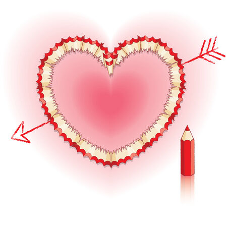 Red Pencil Shavings in Shape of Heart and Drawn Arrow with Red Pencil