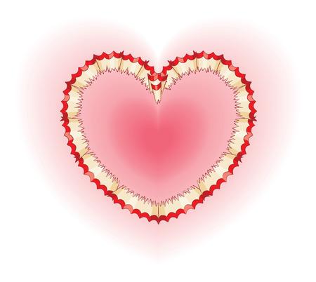 shavings: Red Pencil Shavings in Shape of Heart Illustration