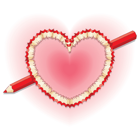 wood shavings: Red Pencil Shavings in Shape of Heart with Broken Red Pencil as Arrow Illustration