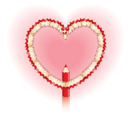 Red Pencil Shavings in Shape of Heart and Red Pencil Vector