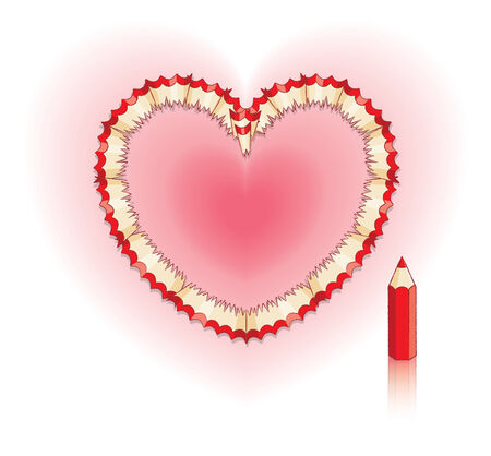 shavings: Red Pencil Shavings in Shape of Heart and Red Pencil Illustration