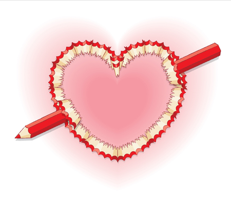 wood shavings: Red Pencil Shavings in Shape of Heart and Broken Red Pencil as Arrow Illustration