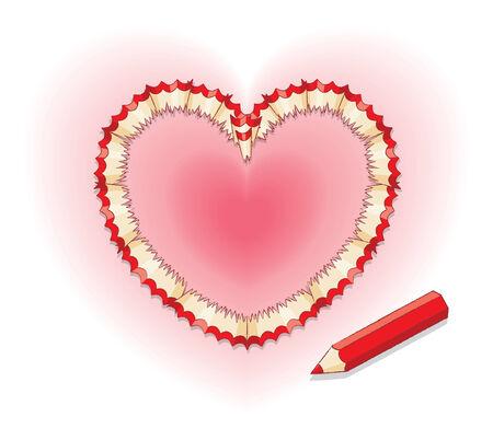 secret love: Rojo l�piz virutas en forma de coraz�n y el l�piz rojo Vectores
