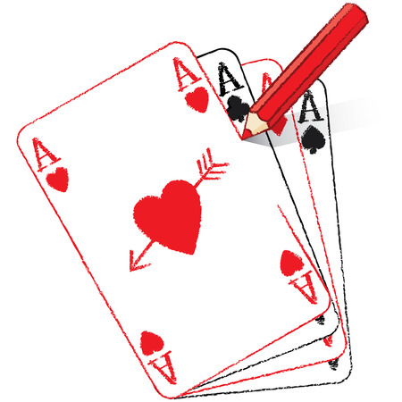 Red Pencil Drawing Filled Ace of Hearts Playing Card on Fan of Aces with Cupid s Arrow Vector