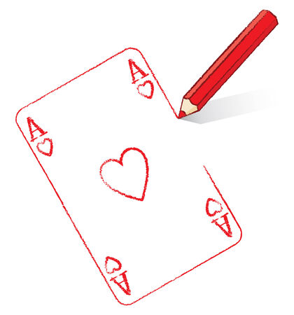 point i: Red Pencil Drawing Ace of Hearts Playing Card Illustration