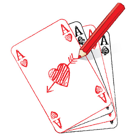 Red Pencil Drawing Ace of Hearts Playing Card on Fan of Aces with Cupid s Arrow Vector