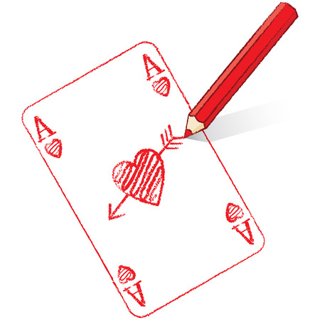 Red Pencil Drawing Ace of Hearts Playing Card with Cupid s Arrow Vector