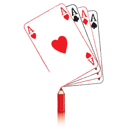 Red Pencil Drawing Ace of Hearts Playing Card on Fan of Aces Vector