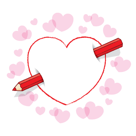 piercing: Red Pencil Piercing Love Heart like an Arrow with surrounding Pink Hearts