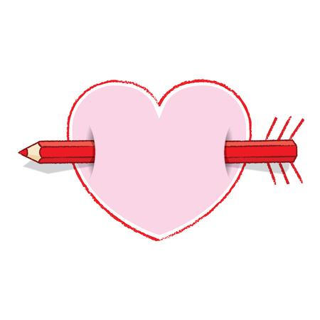 piercing: Red Pencil Piercing Love Heart like an Arrow