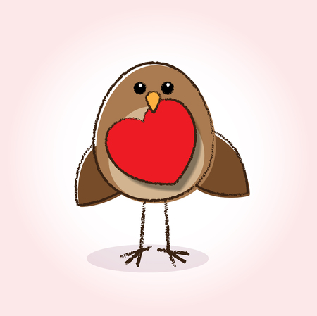 Cute little brown Robin with holding a red heart in Beak Vector