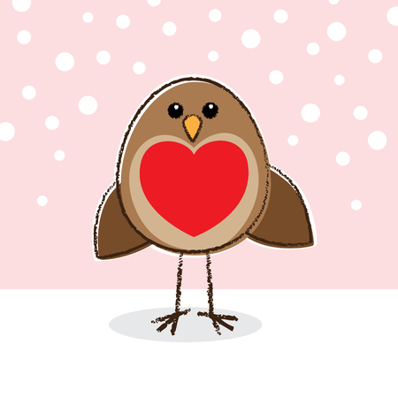 Cute little Robin with a large red heart on Breast Vector