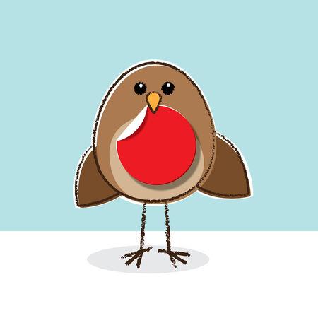Cute little brown Robin holding a Red Paper Dot in Beak Vector