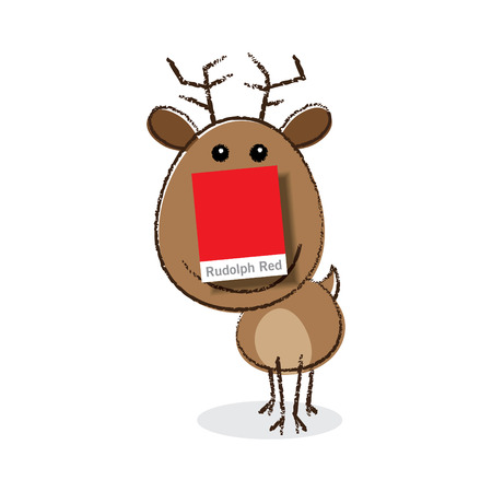 red nosed: Rudolph the Red Nosed Reindeer with a Paper Colour Swatch