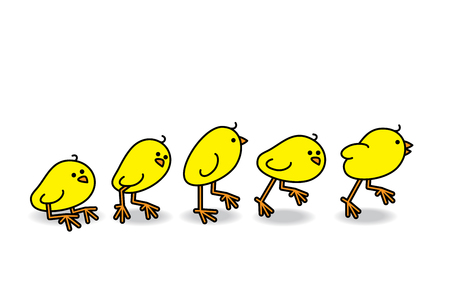 Illustration of Cute Chick getting up and running in progression illustration