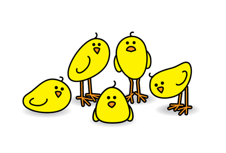 Illustration of Five Small Cute Chicks in a group Staring towards camera illustration