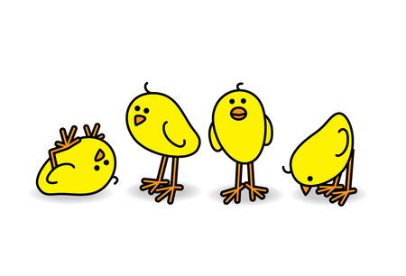 Illustration of Four Small Cute Chicks in a Casual Group illustration