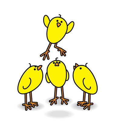 Illustration of Three Small Cute Chicks watching another Leaping illustration