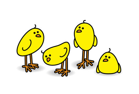 Illustration of Four Small Cute Chicks in a Relaxed Group illustration