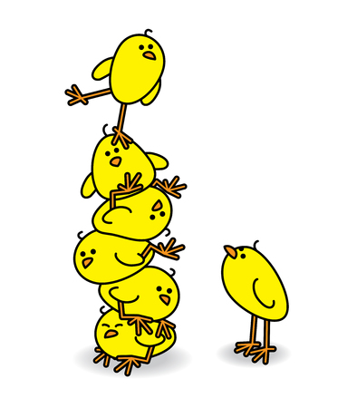 brood: Illustration of Cute Chicks stacked on top of each other with one Wobbling