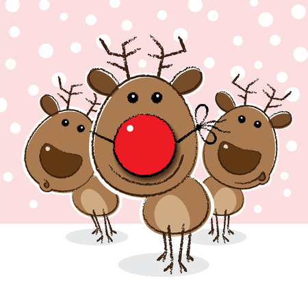 red nosed: Red Nosed Reindeer wearing a Funny Clowns Nose Illustration