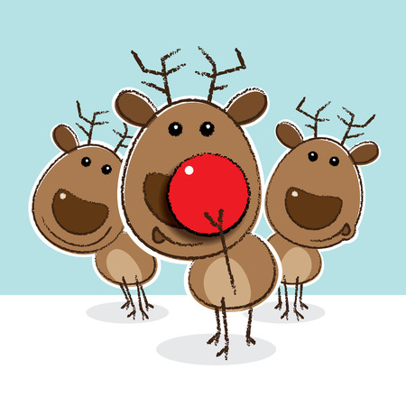 Reindeer putting on a funny Clowns Nose Vector