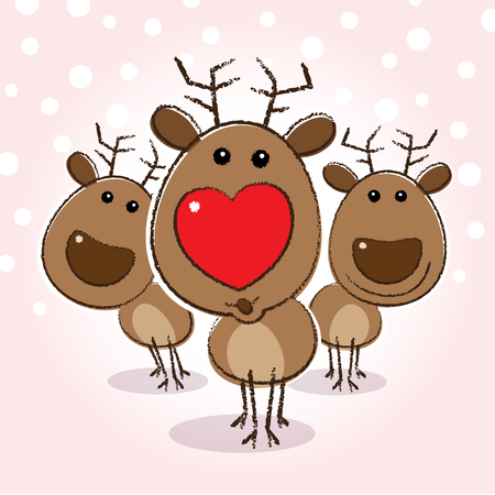 blowing nose: Reindeer with Heart Shaped Red Nose blowing a kiss