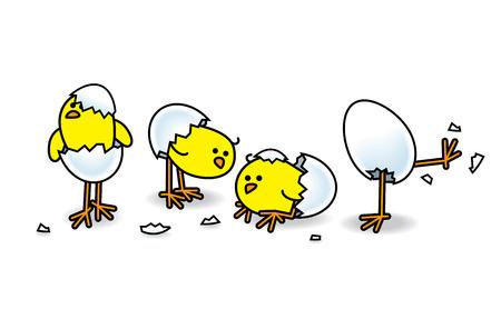 Illustration of Four Easter Chicks Hatching from White Eggs illustration