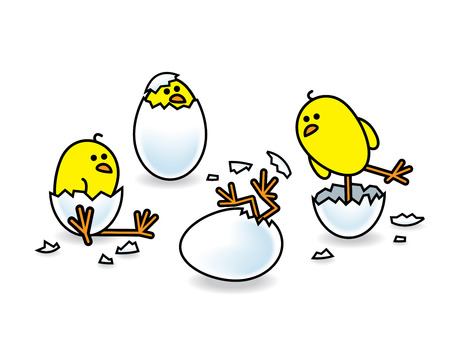 Illustration of Four Easter Chicks Hatching from White Eggs