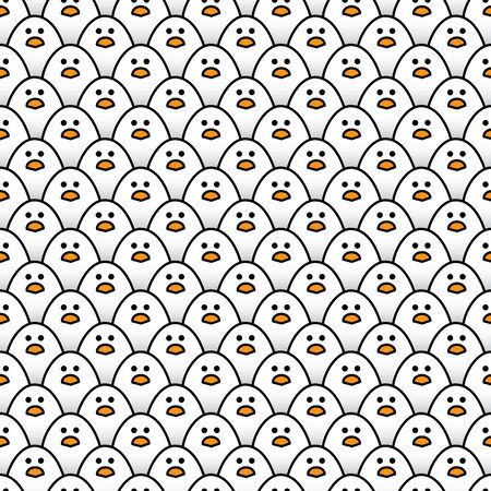 regimented: Illustration of Repeating Pattern of Staring Little White Chicks