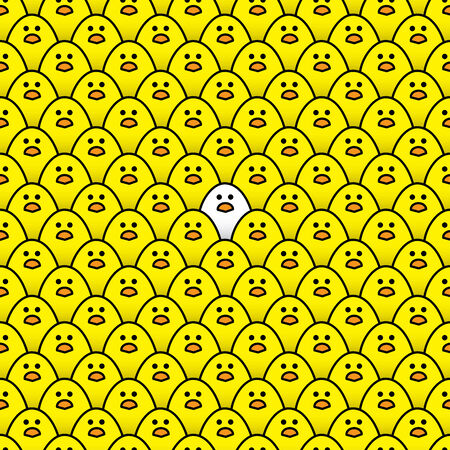 regimented: Illustration of Single White Chick Surrounded by a Repeating Pattern of Staring Yellow Chicks