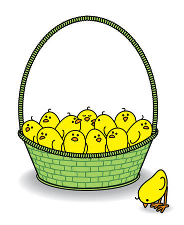 Illustration of Chicks in a Green Basket with one outside Pecking illustration