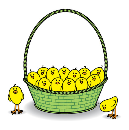 Illustration of Chicks in a Green Basket all Staring out at Camera illustration