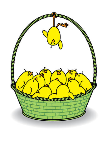 brood: Illustration of Chicks in a Green Basket with one Hanging Upside Down from Handle