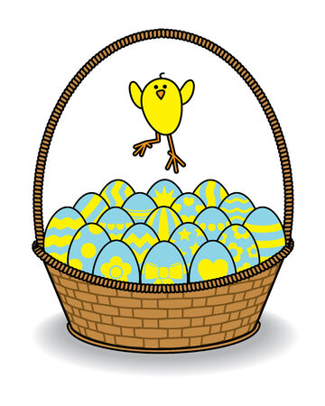 Illustration of Chick Jumping over Wicker Basket of Decorated Eggs illustration