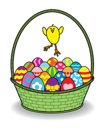 Illustration of Chick Jumping over Decorated Coloured Easter Eggs in Green Wicker Basket  illustration