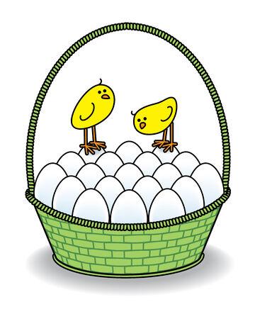 Illustration of Chicks in a Green Basket full of White Eggs illustration