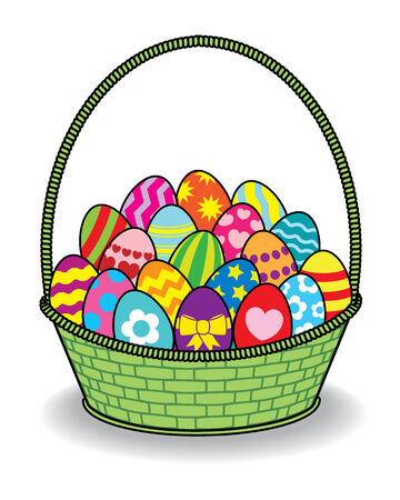 multiple birth: Illustration of Decorated Coloured Easter Eggs Green Basket