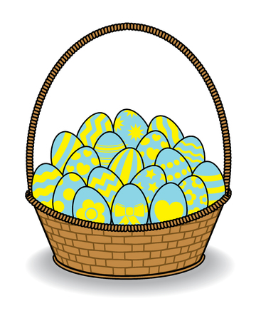 multiple birth: Illustration of Brown Wicker Basket with Decorated Eggs