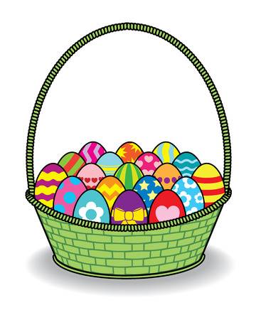 multiple birth: Illustration of Decorated Coloured Easter Eggs in Green Basket Stock Photo