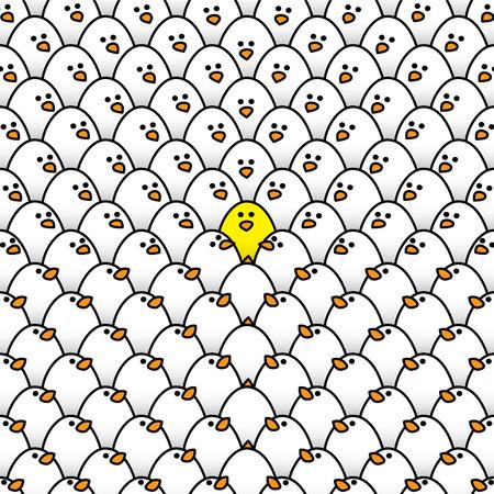 Illustratie van Yellow Chick Omringd door White Chicks Alle Starend naar Odd One Out